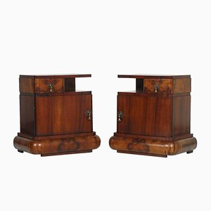 Walnut Burl Nightstands, Set of 2