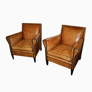 Vintage Italian Brown Leather Club Chairs, Set of 2
