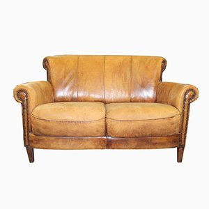 2-Seater Leather Club Sofa, 1940s