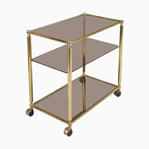 Brass Bar Cart with Three Shelves in Crystal Fumè, 1970s
