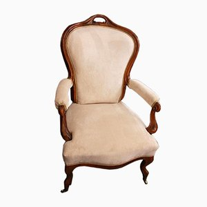 Antique Biedermeier Armchair on Castors