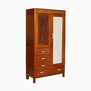 Solid Cherry Wardrobe with Mirror, 1930s