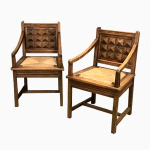 Armchairs in Chestnut, 1950s, Set of 2