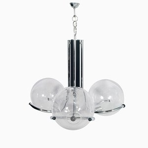 Chromed Steel & Murano Glass 3-Light Ceiling Light from Mazzega, 1970s