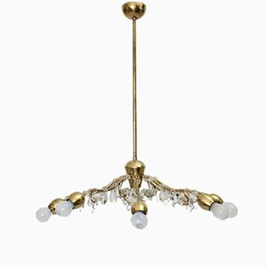 Viennese Brass Crystal Eight-Armed Chandelier by J. & L. Lobmeyr, 1950s