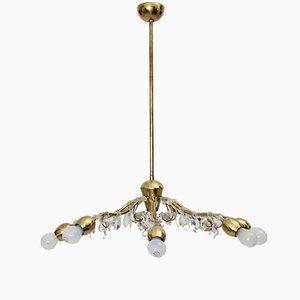 Viennese Brass Crystal Eight-Armed Chandelier by J. & L. Lobmeyr, 1950s