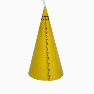 Lámpara colgante Mid-Century Modern en forma de cono amarilla