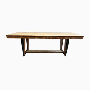 Art Deco Walnut & Parchment Dining Table, 1940s