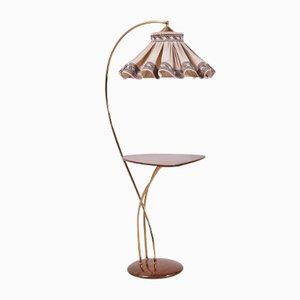 Lámpara de pie vintage con pantalla en forma de falda con mesa auxiliar, años 60