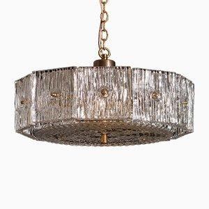 Lampe à Suspension Vintage en Laiton et Cristal Transparent par Carl Fagerlund pour Orrefors
