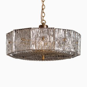 Vintage Brass & Clear Crystal Pendant by Carl Fagerlund for Orrefors