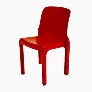 Silla Selene vintage de fibra de vidrio roja de Vico Magistretti para Artemide