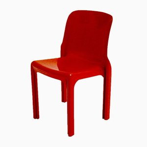 Vintage Red Selene Fiberglass Chair By Vico Magistretti For Artemide