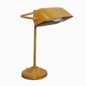Dänische Vintage Metall Tischlampe in Gelb