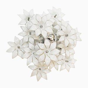 Plafón Mid-Century en forma de flor de cristal de Murano