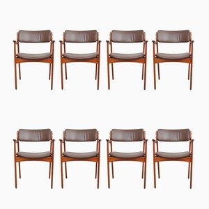 Teak & Leather Dining Chairs by Erik Buch for O.D. Møbler, 1960s, Set of 8