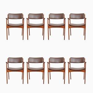 Teak & Leder Esszimmerstühle von Erik Buch für O.D. Møbler, 1960er, 8er Set