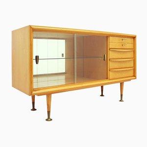Kleines Kirschholz Sideboard mit Glastüren, 1950er