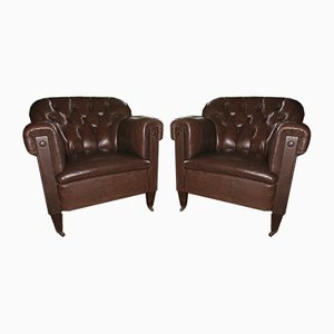 Vintage Leather Club Chairs, Set of 2