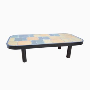 Table Basse Shogun Vintage avec Plateau en Céramique par Roger Capron