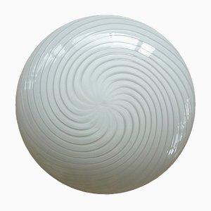 Lámpara de techo de cristal de Murano con dibujo de espiral, años 70
