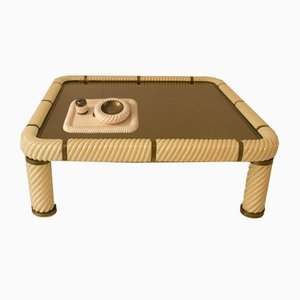 Italian Ceramic Coffee Table with Lighter & Ashtray by Tommaso Barbi, 1970s