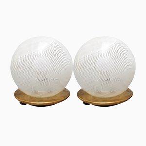 Lampade da tavolo sferica in vetro di Murano soffiato di Venini, anni '50, set di 2