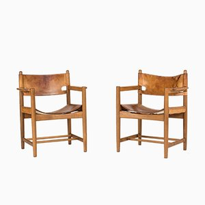 Mid-Century 3238 Hunting Armchairs by Børge Mogensen for Fredericia, Set of 2