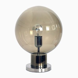 Lampada da tavolo in vetro fumé e placcata in cromo di Doria Leuchten, anni '60