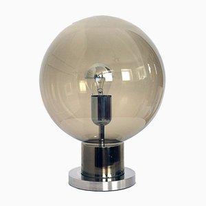 Lámpara de mesa de metal cromado y vidrio ahumado de Doria Leuchten, años 60