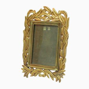 Vintage Bronze, Gold Metal, & Glass Photo Frame