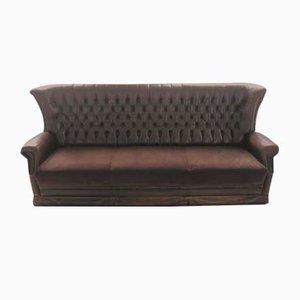 Sofá de cuero marrón, años 70