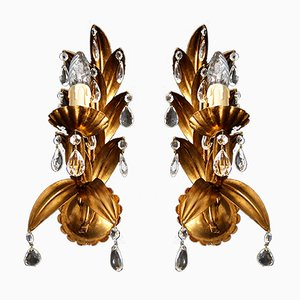 Golden Crystal Drop Sconces, 1960s, Set of 2
