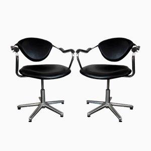 Slingback Stühle aus Stahlrohr & schwarzem Vinyl, 1980er, 2er Set