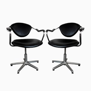 Tubed Steel & Black Vinyl Slingback Chairs, 1980s, Set of 2