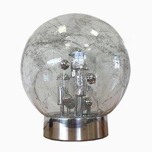Lampada da tavolo grande Space Age sferica cromata di Doria Leuchten, anni '70