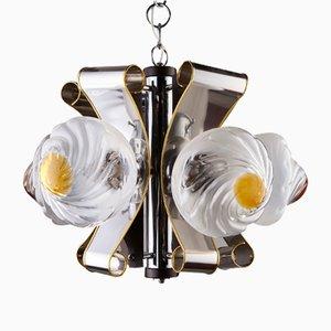 Lámpara colgante de cristal de Murano con cinco luces, años 70