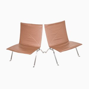 PK22 Lounge Chairs by Poul Kjaerholm for Fritz Hansen, 1984, Set of 2