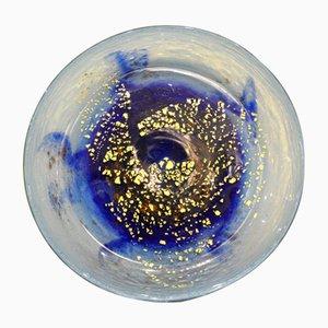 Scodella in vetro blu con dettagli in foglia d'oro di Jean Daum, anni '20