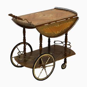 Chariot de Bar Vintage avec Marqueterie