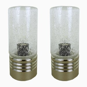 Cylindrical Table Lamps with Bubble Glass, 1960s, Set of 2