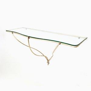 Consolle da parete minimalista in ottone e vetro, Italia, anni '50
