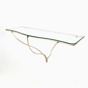 Italian Minimal Brass and Glass Wall-Mounted Console Table, 1950s