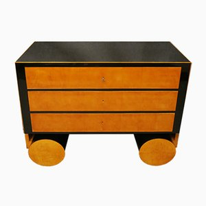 Art Deco Italian Maple & Ebonized Wood Chest of Drawers, 1930s