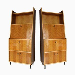 Italienische Holz und Metall Sekretäre, 1950er, 2er Set