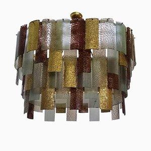 Lámpara de araña de cristal de Murano multicolor, años 80