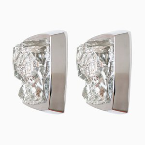 Chrome & Ice Glass Wall Lamps, 1970s, Set of 2