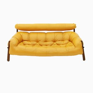 MP-81 Sofa in Leather & Rosewood by Percival Lafer, 1972