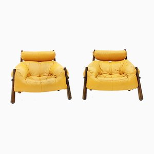 MP-81 Lounge Chairs in Leather & Rosewood by Percival Lafer, 1972, Set of 2
