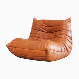 Togo Chair in Cognac Leather by Michel Ducaroy for Ligne Roset, 1980s
